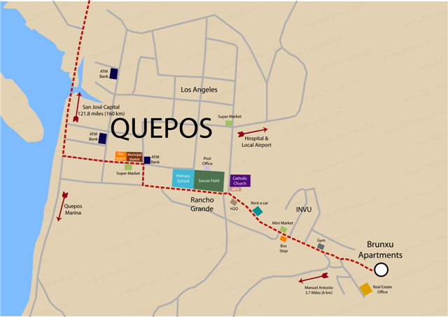 Map Of Quepos Costa Rica Map