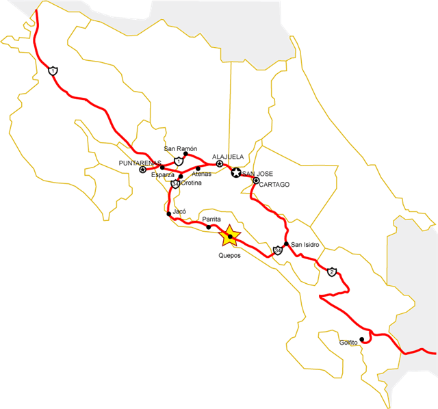 Costa Rica Map main roads